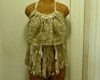 Festival Halter Boho Top, Tea Dyed Vintage Lace da Vinci Birds Tan Burning Man Ready to Wear One Size Tattered Rag Strips Grunge Womens