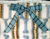 Dog Diapers Britches or Panties Ultra Soft Blue Bones on White Fleece with Blue Plaid Ribbon