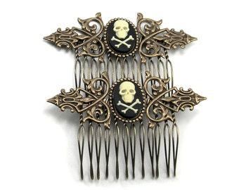 SALE 50% OFF Gothic Hair Combs - Steampunk Hair Combs - with Cream on Black Skull and Crossbones Cameos - SET of 2 - By Ghostlove
