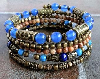 Blue Stone Memory Wire Bracelet, Beaded Bangle, Agate, Lapis Lazuli, Jasper, Antique Brass, Boho, Gypsy, Wrap Around