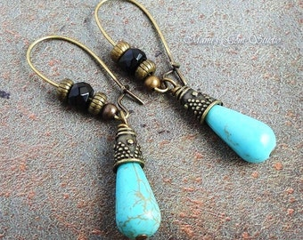 Blue Green Magnesite and Black Onyx Gemstone Earrings with Antiqued Brass Kidney Earwires, Handcrafted