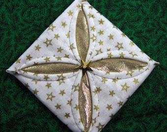 Gold and White Cathedral Window Quilted Christmas Ornament 301