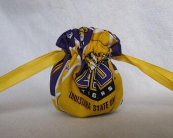 College Team Jewelry Bag - Mini Size - Jewelry Pouch - Drawstring Pouch - LSU TIGERS
