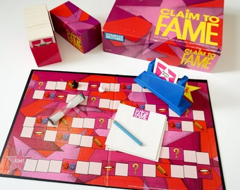Vintage 1990s Game / Parker Brothers Claim to Fame 1990 Complete / Celebrity Trivia, Pictionary Charade Style