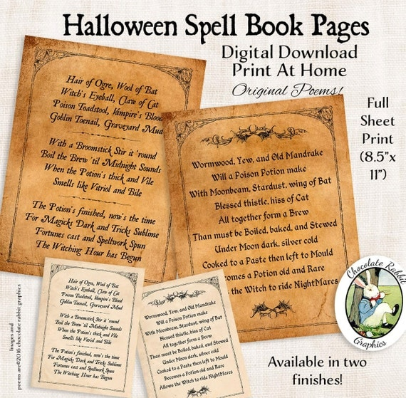 Halloween Witch Spell Book Pages Digital Download Printable Page Spellbook Graphic Image Wall Art Scrapbook Journal Collage Sheet