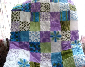 PEACEFUL NIGHT ~a Made-to-Order Vintage Cotton Chenille Patchwork  Quilt