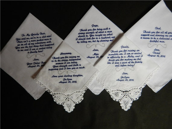 5 Wedding Handkerchiefs - FREE SHIPPING -  Mix and Match - Custom machine embroidered handkerchiefs - all under 40 words