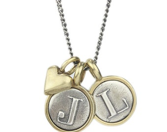 Tiny Initial Pendants with Tiny Sculpted Heart, Silver and Bronze Letter Necklace, Custom Initial Necklace, Personalized Necklace