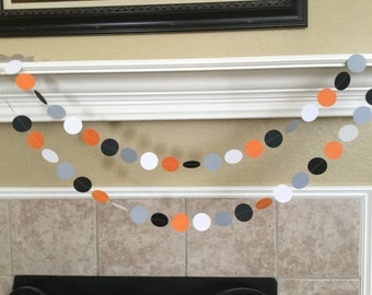 Orange Black Gray White Paper Garland, Fall Harvest Party,  Boy 1st Birthday Party Decorations, Orange Black Halloween Decor, Mustache Party