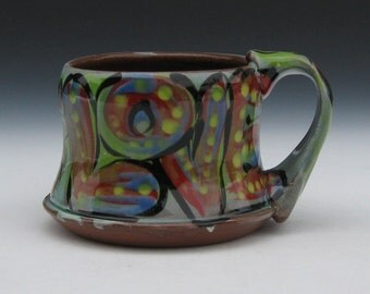 love mug red blue green yellow dots terra cotta cone 3 tough pottery