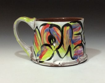 love mug white green red purple lilac black