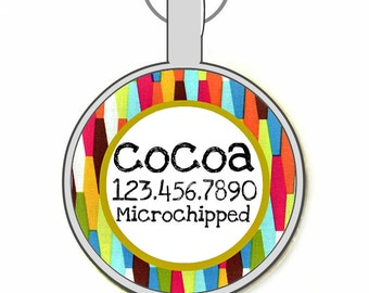Mid Century Modern Personalized Dog ID Pet Tag Custom Pet Tag You Choose Tag Size & Colors
