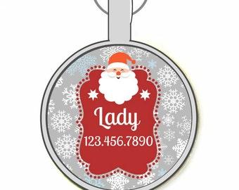 Santa  Silver Custom Personalized Dog ID Pet Tag Custom Pet Tag You Choose Tag Size & Colors