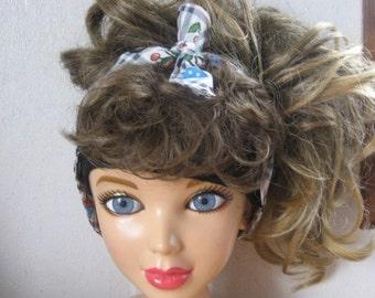 Hair Scarf, Bandana, Hair Bandana, Bandana Headband, Cherries Berries, Head Band, Hair Band, PinUp Bandana, Knotted HairBand, BohoBand #142