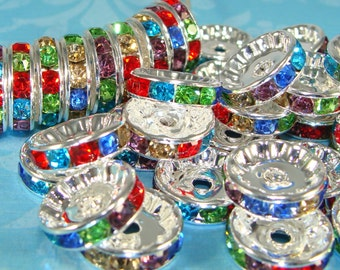 20 Rhinestone Disc Beads 12mm Silver Rondelle Multi Color Assorted Stones 20pcs (44829) Silver Spacer Bead Jewelry Supplies Bulk Beads