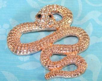 Rhinestone Snake Charm Bracelet Bar Components Copper with Crystal Eyes Jewelry Supplies Connector Necklace Pendant 1-1/2 Inch (46602)
