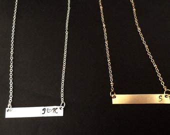 Personalized name Delicate Horizontal Bar Necklace Gift Hand Stamp