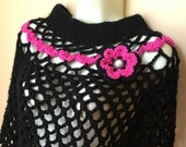 Flirty Crochet Poncho, Black, Gifts for Her,  Womens, Teens, Birthday Gifts, Holiday gifts, Fall, Winter, Handmade, PON2