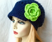 Sports Team Seattle Seahawk Lime Green, Blue Womens Hat, Crochet Beret, Teens, City, Birthdays Gifts for Her, JE610BT2