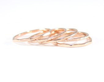 rose gold 5 skinny ring stack | set of 5 rose gold rings | skinny hammered rose gold ring set