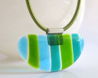Green and Blue Striped Fused Glass Half Circle Necklace