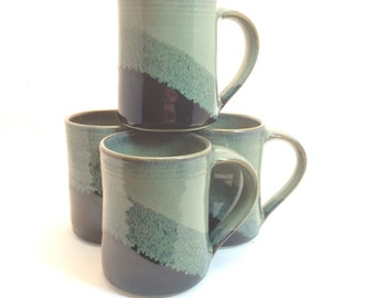 16 oz. Handmade ceramic mug- Black / Slate gray combination