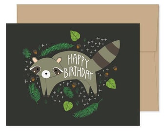 Happy Birthday Raccoon Cards, Raccoon Celebration, Raccoon Birthday Card, Raccoon Greeting Cards, Raccoon Stationery