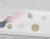 """24"""" with 4 Pegs . Personalized Coat Towel Hat Peg Rack . Pink and Gold Polka Dots . Jocelyn"""