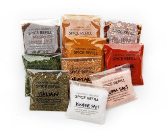 CUSTOM REFILLS for Lo:  Organic Spices Shipped in Compostable Cellphane Bags. Set of 7 Large & 1 Small Refill Size.