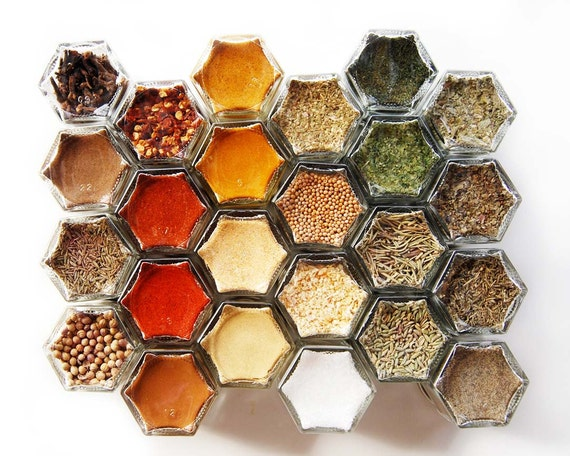 Christmas Delivery! Magnetic Spice Rack: Includes 24 Organic Seasonings in Hexagon Jars. Unique Gift Idea for Her.