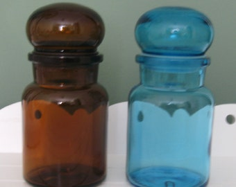 Vintage Apothecary Jars Belgium Glass Bottles Colored Glass