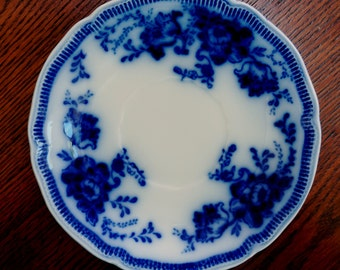 Vintage Flow Blue Plate Richmond Johnson Bros Decorative Saucer Plate England