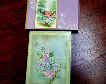 Vintage Empty Greeting Card Boxes Flowers Birds Covered Bridge House Crafts Assemblage Upcycle 1950s Set of Two