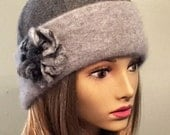 Mary Anne, 100% pure cashmere hat, cloche with hand felted merino wool flower, charcoal/grey color