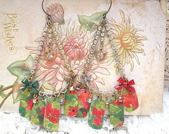 floral tin earrings geranium assemblage botanical recycle charm red repurposed recycled