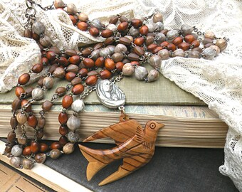 rosary assemblage necklace multi strand layer fall bird brown