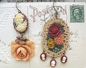 SOLD fall floral cameo earrings assemblage dangle autumn