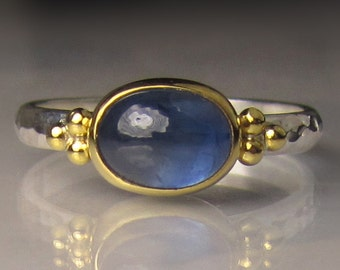 Blue Sapphire Ring, 22k Yellow Gold and Sterling Silver Granulated Ring, Blue Sapphire Cabochon Ring, Made to Order