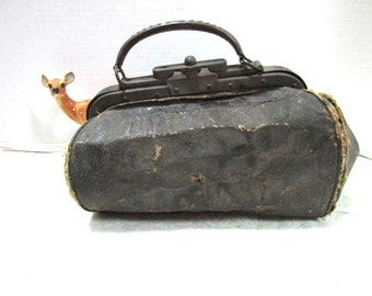 Small Vintage Doctor Bag ANTIQUE Black Cowhide Leather Metal Handle Old and Very Worn House Call Stage Prop Med School Grad, Dr Office Decor