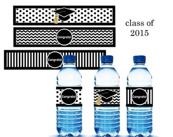 Black Graduation Water Bottle labels Printable - class of 2015