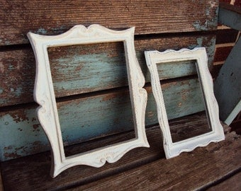 Vintage Shabby Chic Wood Frame Set Rustic Ornate Scatter Frames Set Antique White French Country Farmhouse distressed Collage of Frames