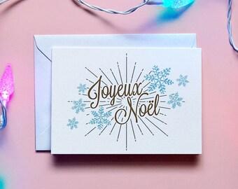 Joyeux Noel hand drawn Christmas card // Retro // Vintage // Greetings // Christmas // Festive // Card // Illustrated // Blank // Snowflakes