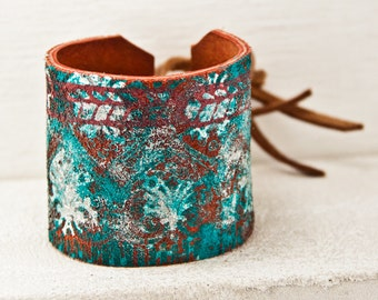 Leather Turquoise Jewelry Teal Cuff - Summer Trends, Most Popular, Etsy Finds, Unique Trending Items