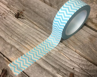 Washi Tape - 15mm - Blue and White Chevron - Deco Paper Tape No. 851