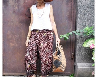 COTTON, Cropped Culotte Pants, Print Pants, Hand Painted, Batik, One of a Kind, Follow me on Instagram: @mybalicloset