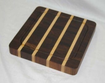 SALE! Cutting Board End-grain Walnut with Maple Stripes Small Size