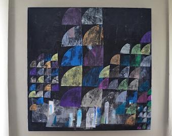 Original Mixed Media Painting Collage Art Artwork Black Light Pastel Colors Modern Graffiti Urban Indie Geometric