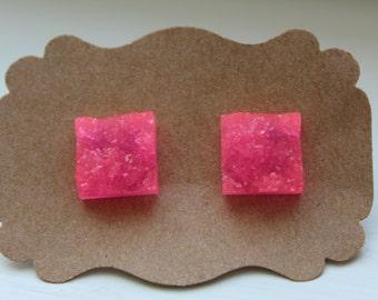 Hot Pink Square Druzy Earrings, Pink Druzy Earrings, Druzy Earrings, Stainless Steel Post, Pink Druzy Post, Pink Drusy Earring, Square Druzy
