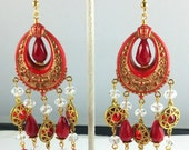 Handcrafted Art Deco Vintage Red with Gold Floral Crystal Chandelier Earrings OOAK Free Ship