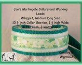 Jan's Martingales, Green Tag Collar and Matching Walking Lead Set, Whippet, Medium Dog Size, wgrn102
